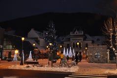Sinaia, Stadtlicht Rumäniens 27. Dezember - in einer Nacht des Winters Lizenzfreies Stockfoto