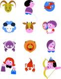 Sinais/ícones da estrela do zodíaco ilustração royalty free