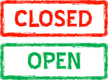 Sinais abertos e fechados para o varejo no vetor Fotografia de Stock Royalty Free