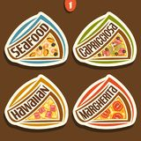 Sinais ajustados do vetor para a pizza italiana Foto de Stock Royalty Free