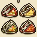 Sinais ajustados do vetor para a pizza italiana Imagem de Stock Royalty Free