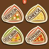 Sinais ajustados do vetor para a pizza italiana Imagens de Stock