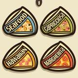 Sinais ajustados do vetor para a pizza italiana Imagem de Stock