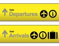 sinais amarelos do aeroporto da chegada e das partidas Imagem de Stock Royalty Free