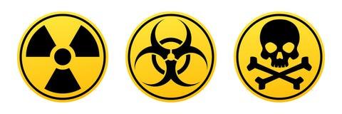 Sinais amarelos do vetor do perigo Sinal da radiação, sinal do Biohazard, sinal tóxico ilustração royalty free