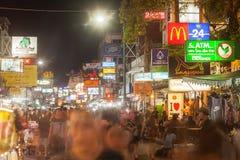 Sinais ao longo da estrada de Khao San Fotografia de Stock