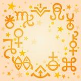 Sinais astrológicos do diadema astrológico e símbolos místicos ocultos, fundo celestial do teste padrão da manhã morna com estrel ilustração royalty free