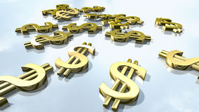 Sinais brilhantes do dinheiro do dólar do ouro rendição 3d Imagens de Stock Royalty Free
