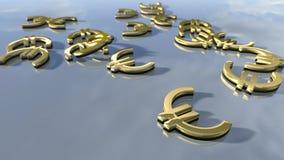 Sinais brilhantes do dinheiro do Euro do ouro rendição 3d Fotografia de Stock Royalty Free