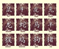 Sinais chineses do zodíaco Foto de Stock