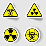 Sinais da contaminação biológica e radioativa ilustração stock