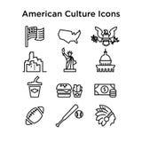 12 sinais da cultura da linha ícones dos EUA do vetor Eps 10 ilustração stock