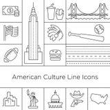 Sinais da cultura da linha ícones dos EUA do vetor Eps 10 ilustração stock