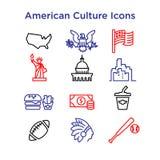 12 sinais da cultura da linha ícones dos EUA do vetor Eps 10 ilustração royalty free
