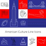 Sinais da cultura da linha ícones dos EUA do vetor Eps 10 ilustração do vetor