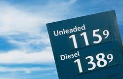 Sinais da gasolina fotografia de stock royalty free