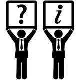 Sinais da informação da resposta da pergunta do homem de negócio Fotografia de Stock Royalty Free