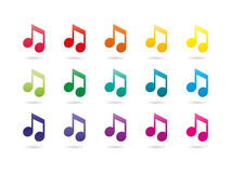 Sinais da nota da música do espectro do arco-íris Fotos de Stock