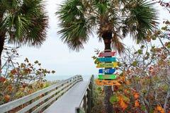 Sinais da praia de Florida Foto de Stock Royalty Free