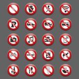 Sinais da proibição ilustração do vetor
