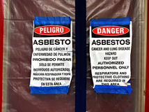 Sinais da redução do asbesto fotos de stock royalty free