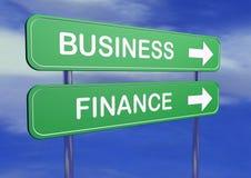 Sinais da tabela do negócio e da finança Foto de Stock