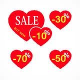 Sinais da venda dos corações do estilo Corações com discontos do interesse Ilustração do vetor Fotos de Stock