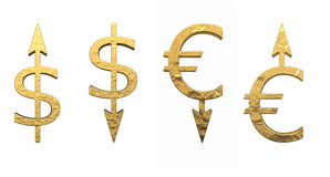 Sinais das moedas Imagens de Stock