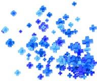 Sinais de adição azuis no branco Fotografia de Stock Royalty Free