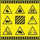 Sinais de aviso 1 do perigo ilustração royalty free