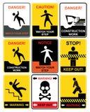 Sinais de aviso ilustração stock