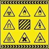 Sinais de aviso 3 do perigo ilustração do vetor