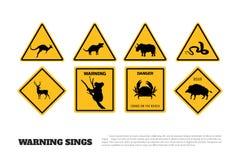 Sinais de aviso amarelos dos animais Grupo de etiquetas e de ícones do perigo ilustração royalty free