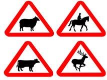 Sinais de aviso animais ilustração stock