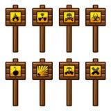 Sinais de aviso de madeira ilustração royalty free