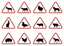 Sinais de aviso do animal de exploração agrícola Fotos de Stock Royalty Free