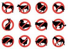 Sinais de aviso do animal de exploração agrícola Fotografia de Stock Royalty Free