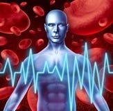 Sinais de aviso do cardíaco do curso e do ataque ilustração royalty free