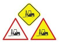 Sinais de aviso do Forklift ilustração stock