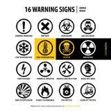 16 sinais de aviso do grunge ilustração royalty free