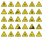 Sinais de aviso do perigo, ícones do cuidado ilustração do vetor
