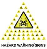 Sinais de aviso do perigo Fotografia de Stock Royalty Free