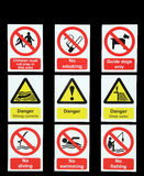 Sinais de aviso do perigo Imagem de Stock Royalty Free