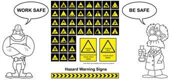 Sinais de aviso do perigo Fotografia de Stock