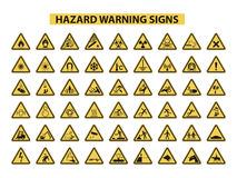 Sinais de aviso do perigo Foto de Stock