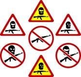 Sinais de aviso do terrorismo Fotos de Stock Royalty Free