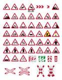 Sinais de aviso do tráfego ilustração do vetor