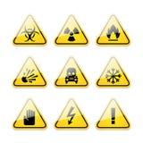 Sinais de aviso dos ícones do perigo Foto de Stock Royalty Free