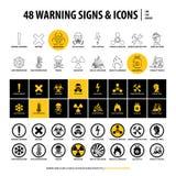 48 sinais de aviso e ?cones ilustração royalty free