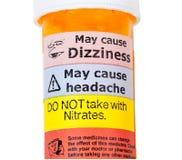 Sinais de aviso no frasco de drogas do rx Imagem de Stock